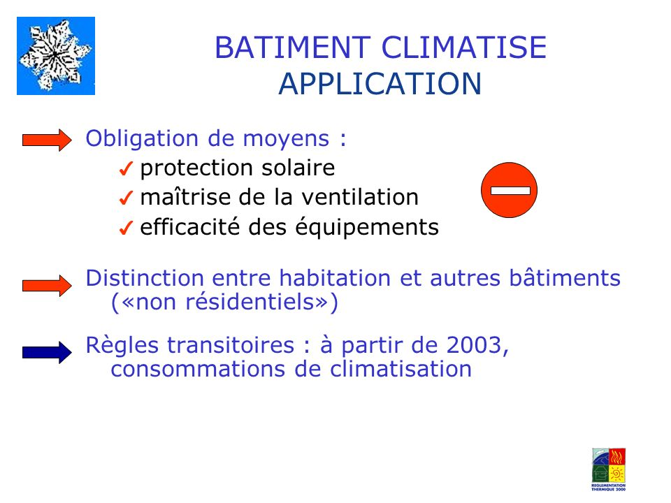 BATIMENT CLIMATISE APPLICATION