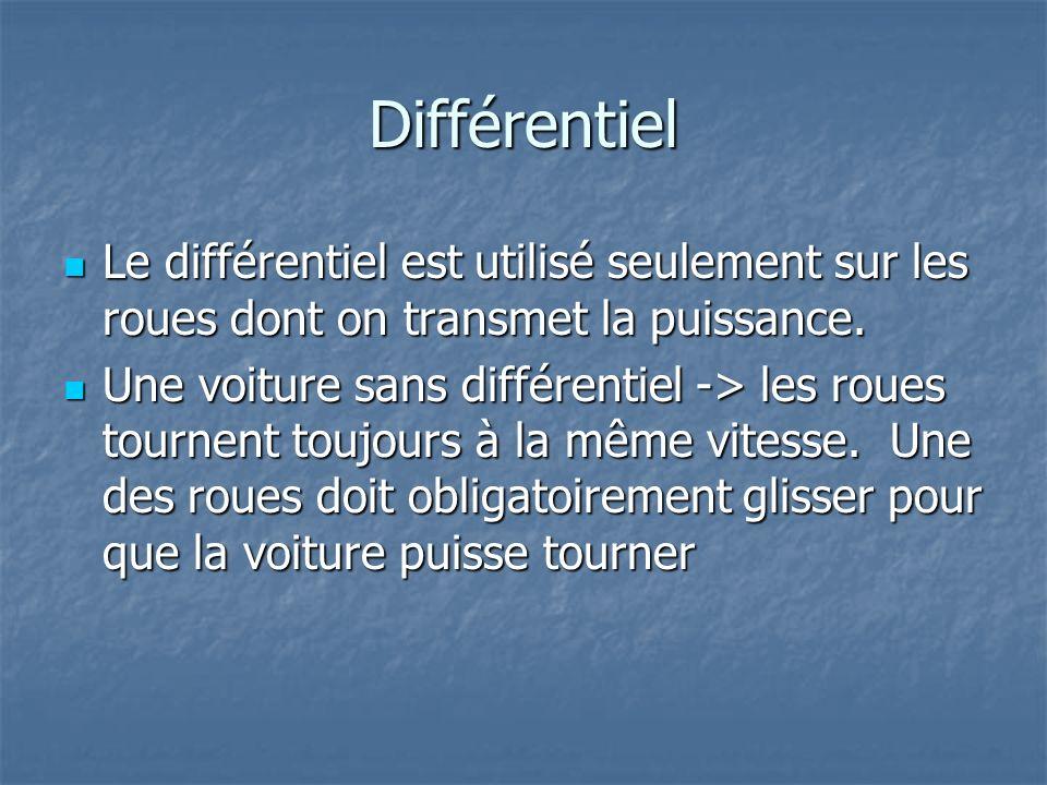 Différentiel Le différentiel est utilisé seulement sur les roues dont on transmet la puissance.