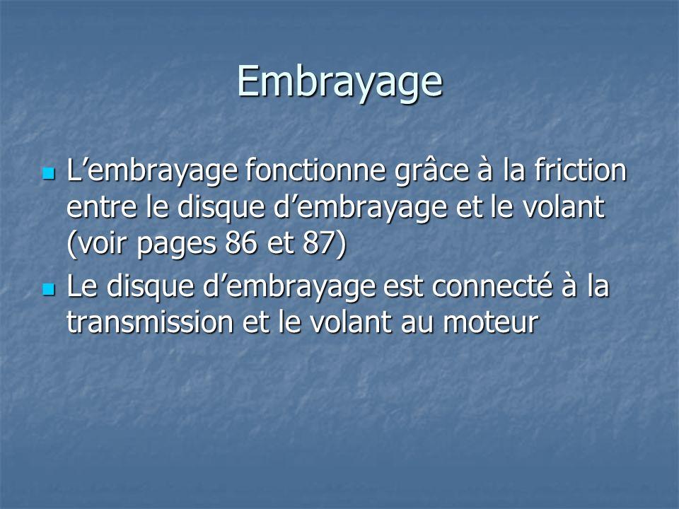 Embrayage L'embrayage fonctionne grâce à la friction entre le disque d'embrayage et le volant (voir pages 86 et 87)