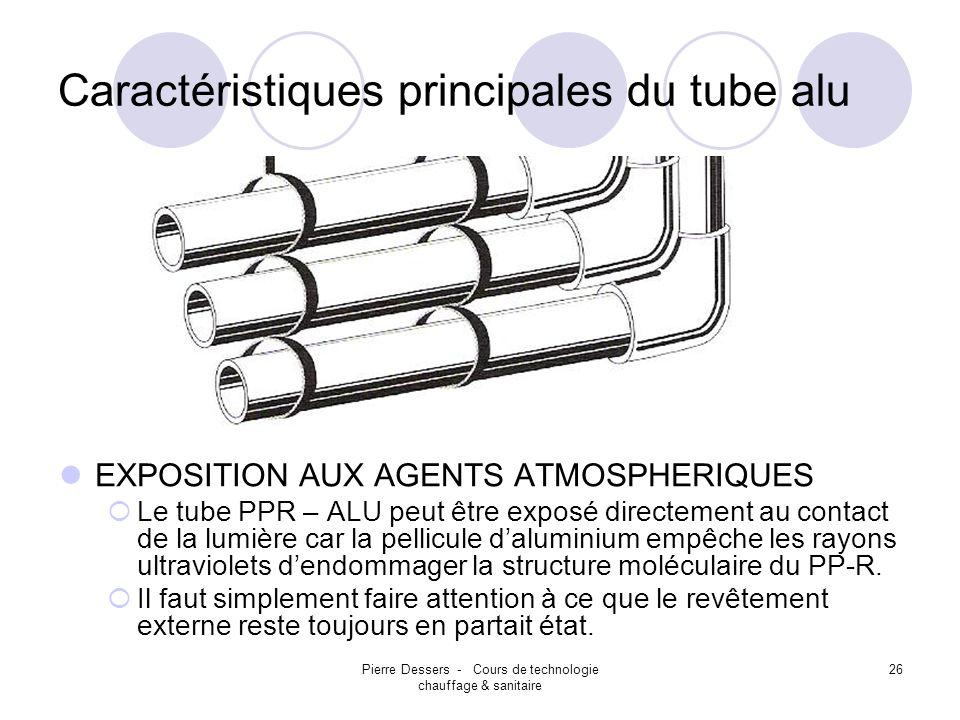 Caractéristiques principales du tube alu