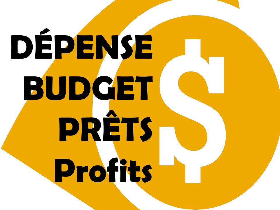 DÉPENSE BUDGET PRÊTS Profits