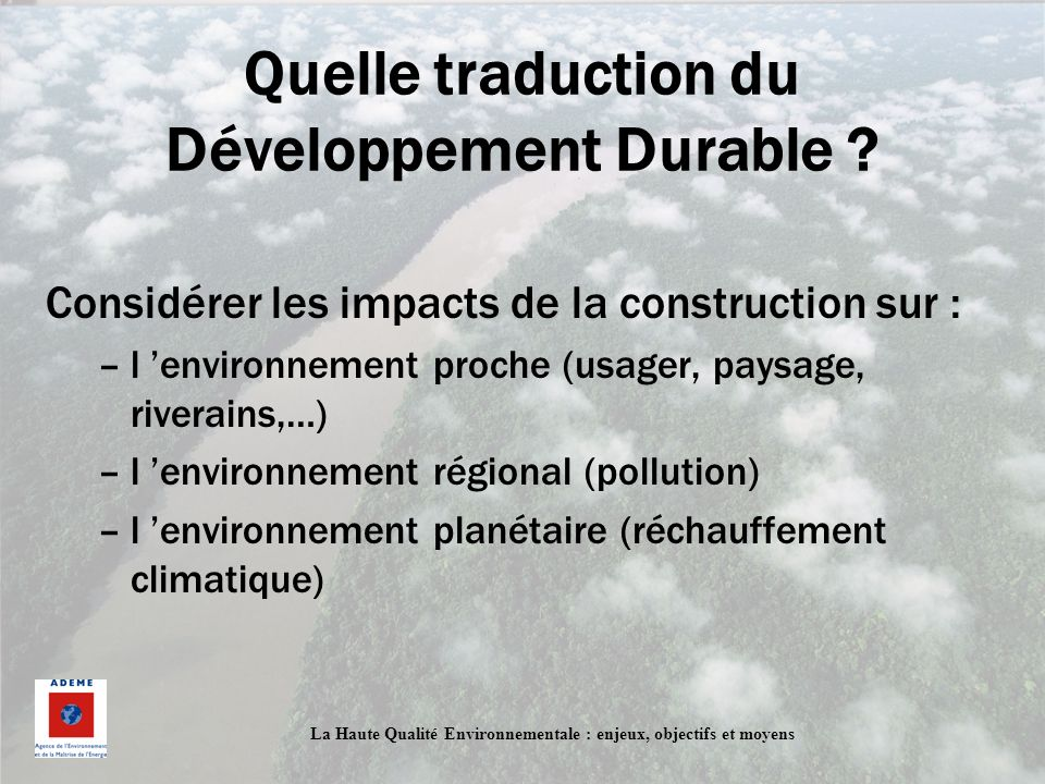 Quelle traduction du Développement Durable