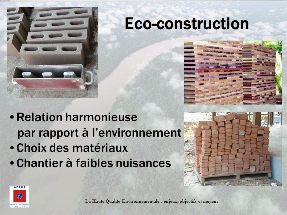 Eco-construction Relation harmonieuse par rapport à l'environnement