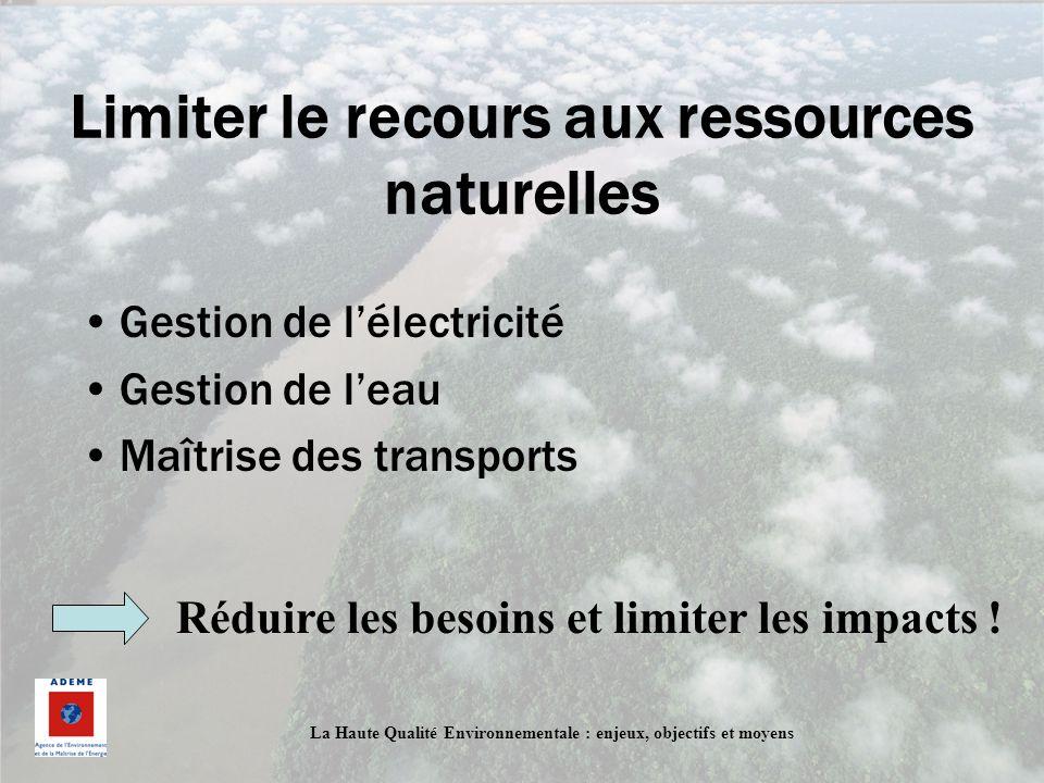 Limiter le recours aux ressources naturelles