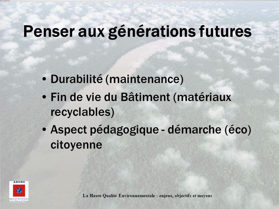 Penser aux générations futures