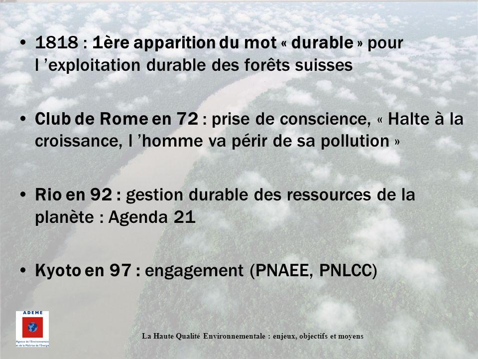 1818 : 1ère apparition du mot « durable » pour l 'exploitation durable des forêts suisses