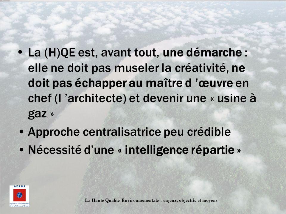 La (H)QE est, avant tout, une démarche : elle ne doit pas museler la créativité, ne doit pas échapper au maître d 'œuvre en chef (l 'architecte) et devenir une « usine à gaz »