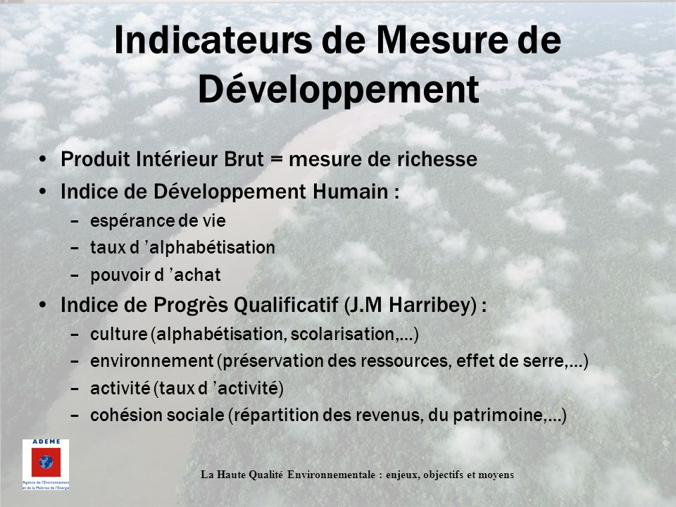 Indicateurs de Mesure de Développement