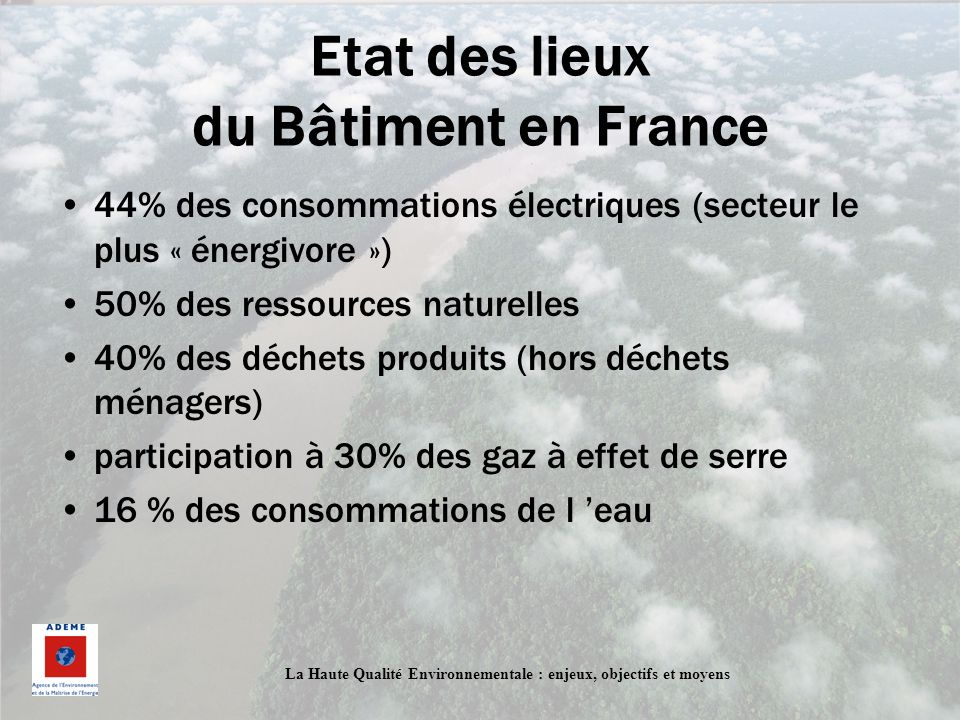 Etat des lieux du Bâtiment en France