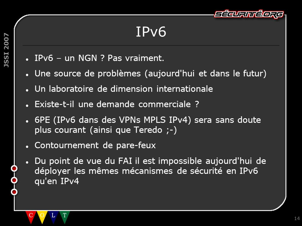 IPv6 IPv6 – un NGN Pas vraiment.