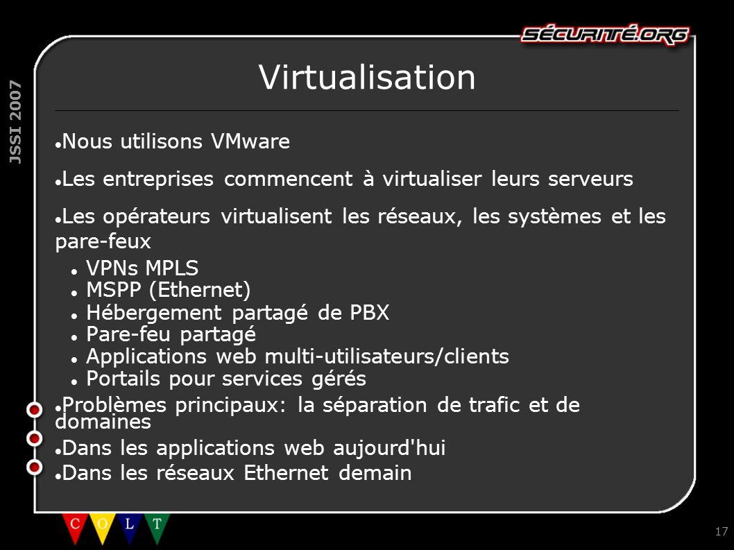 Virtualisation Nous utilisons VMware