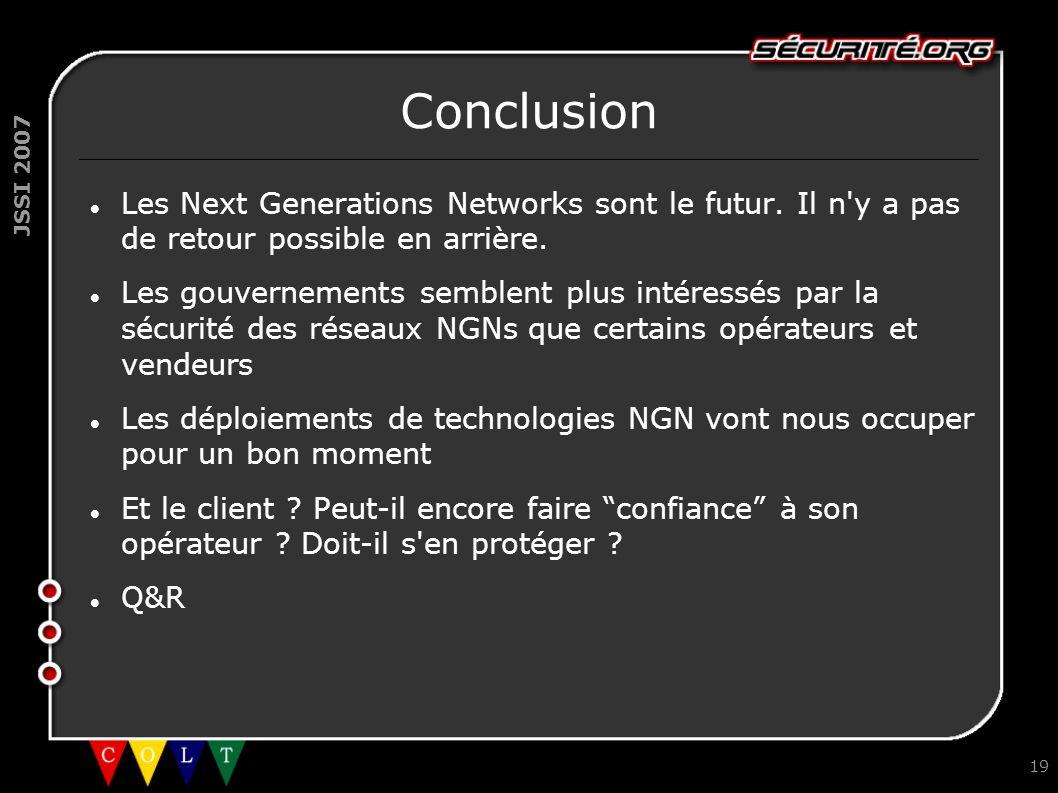 Conclusion Les Next Generations Networks sont le futur. Il n y a pas de retour possible en arrière.