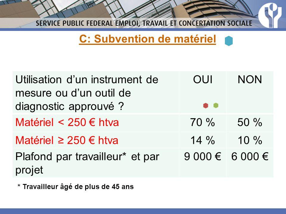 C: Subvention de matériel