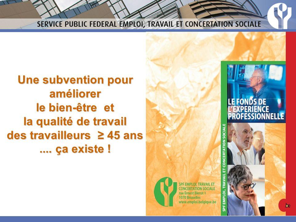 Une subvention pour améliorer le bien-être et la qualité de travail des travailleurs ≥ 45 ans ....