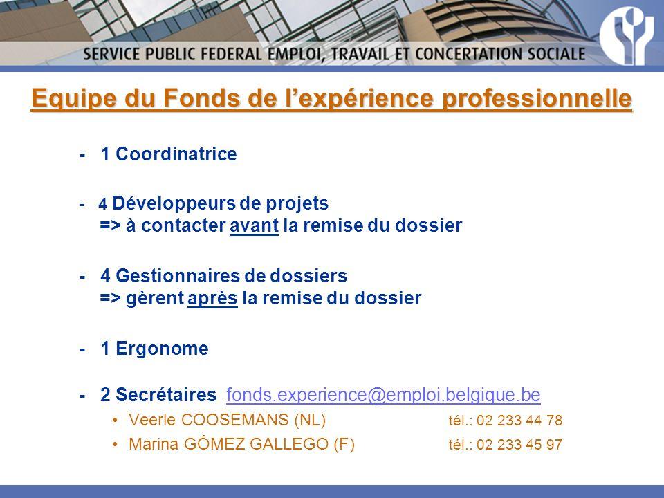 Equipe du Fonds de l'expérience professionnelle