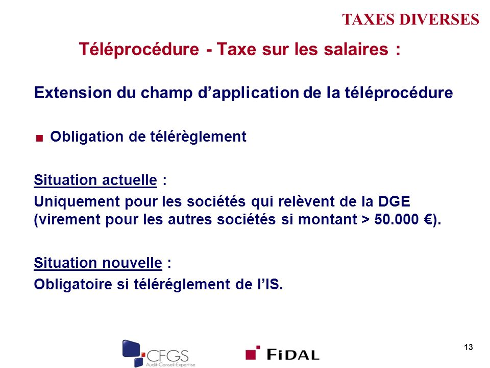 Téléprocédure - Taxe sur les salaires :