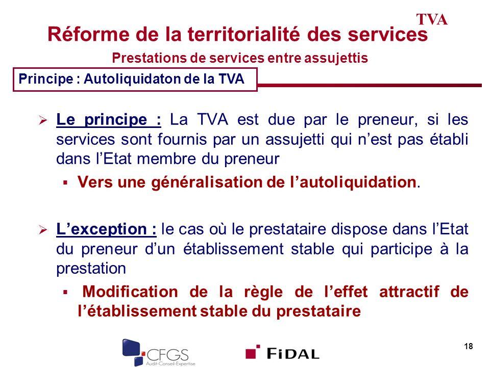 TVA Réforme de la territorialité des services Prestations de services entre assujettis. Principe : Autoliquidaton de la TVA.