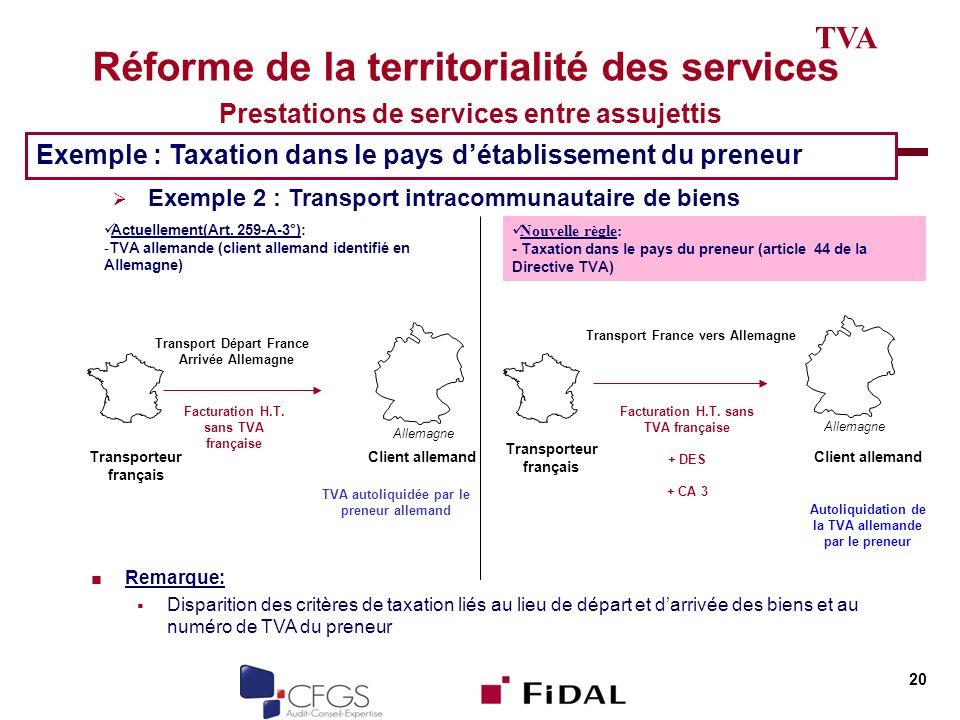 TVA Réforme de la territorialité des services Prestations de services entre assujettis. Exemple : Taxation dans le pays d'établissement du preneur.