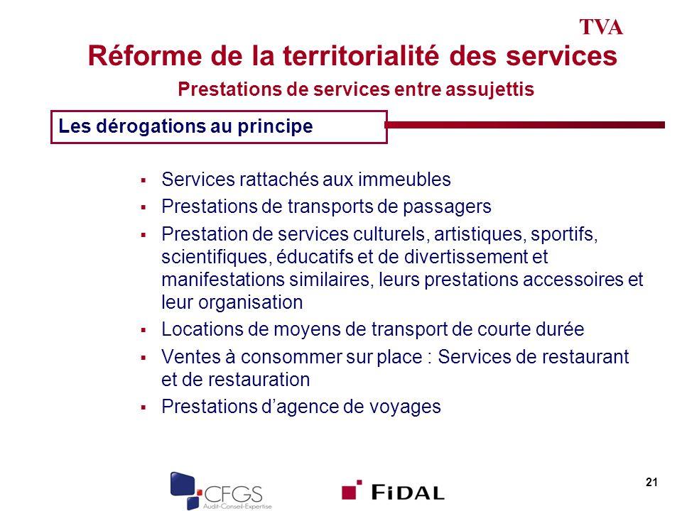 TVA Réforme de la territorialité des services Prestations de services entre assujettis. Les dérogations au principe.