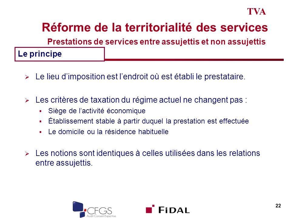TVA Réforme de la territorialité des services Prestations de services entre assujettis et non assujettis.