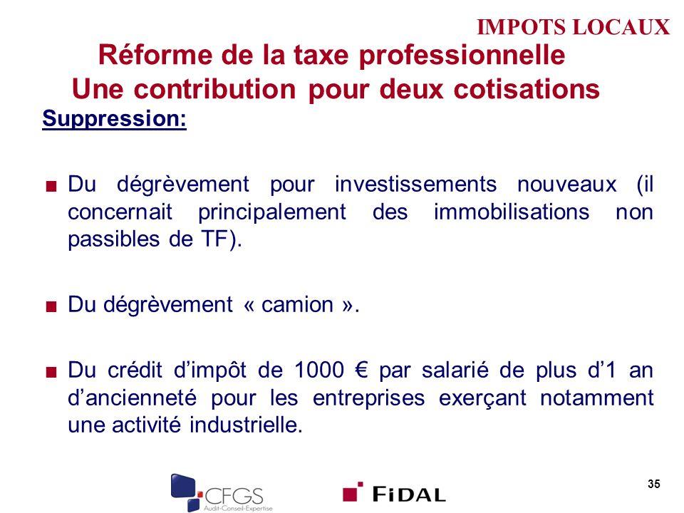IMPOTS LOCAUX Réforme de la taxe professionnelle Une contribution pour deux cotisations. Suppression: