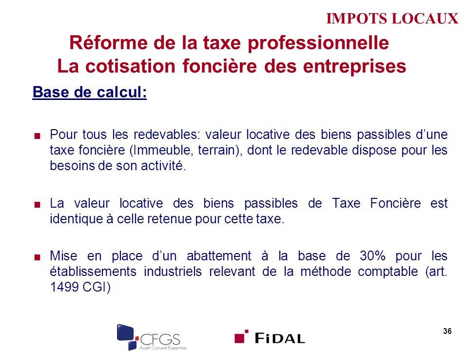 IMPOTS LOCAUX Réforme de la taxe professionnelle La cotisation foncière des entreprises. Base de calcul:
