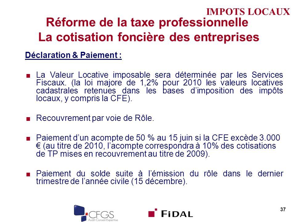 IMPOTS LOCAUX Réforme de la taxe professionnelle La cotisation foncière des entreprises. Déclaration & Paiement :