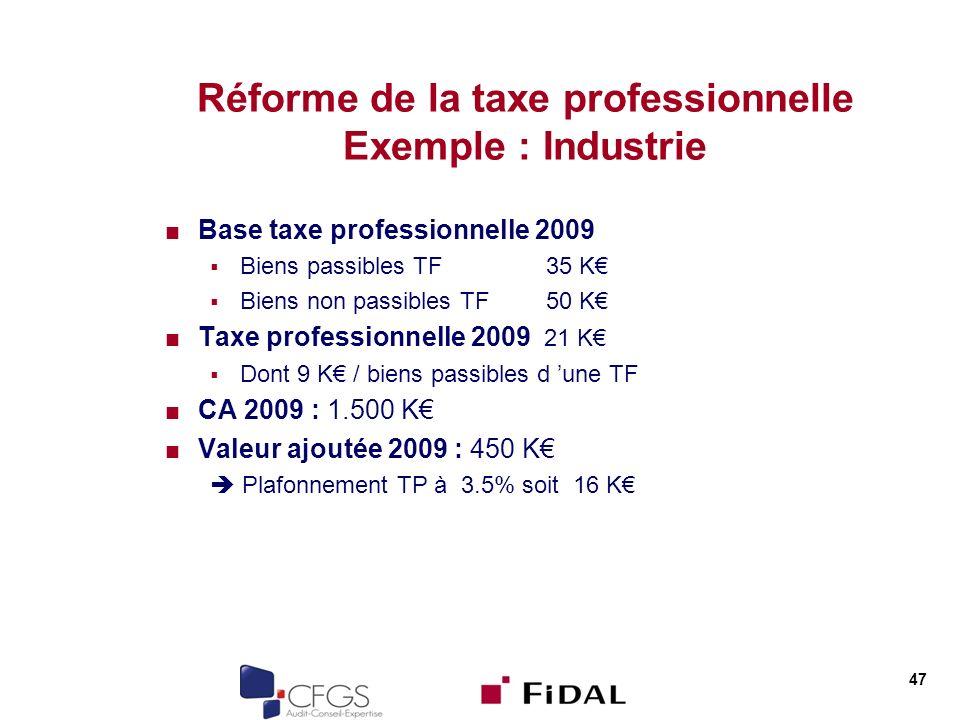 Réforme de la taxe professionnelle Exemple : Industrie