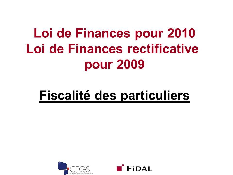 Loi de Finances rectificative Fiscalité des particuliers