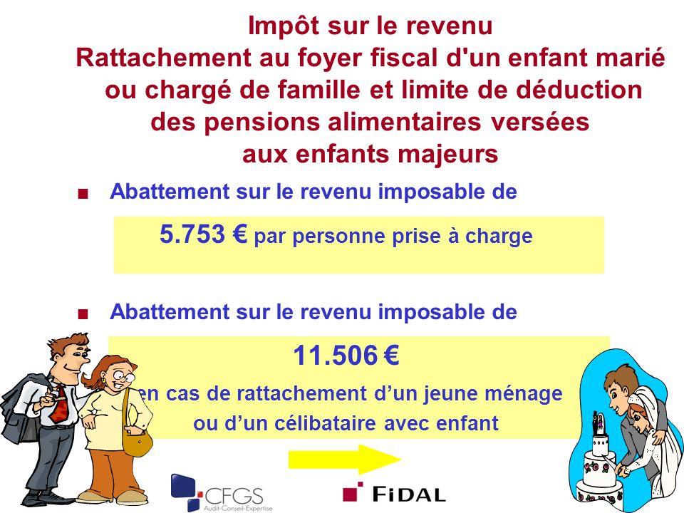 Impôt sur le revenu Rattachement au foyer fiscal d un enfant marié ou chargé de famille et limite de déduction des pensions alimentaires versées aux enfants majeurs