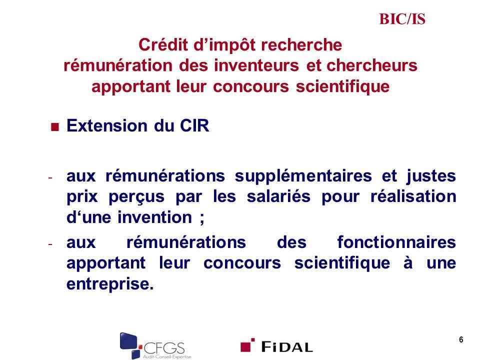 BIC/IS Crédit d'impôt recherche rémunération des inventeurs et chercheurs apportant leur concours scientifique.
