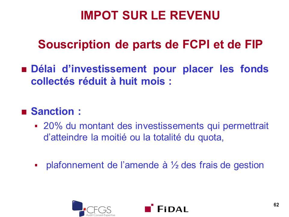 IMPOT SUR LE REVENU Souscription de parts de FCPI et de FIP