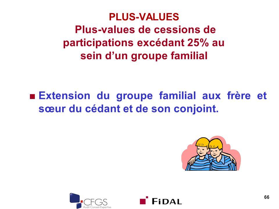 PLUS-VALUES Plus-values de cessions de participations excédant 25% au sein d'un groupe familial
