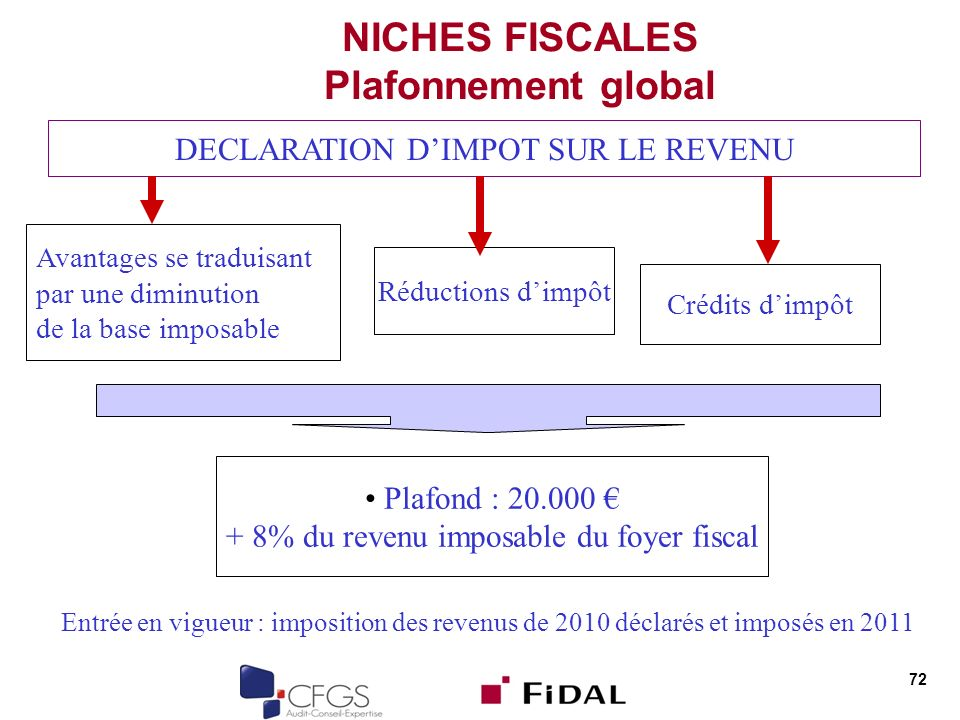 NICHES FISCALES Plafonnement global