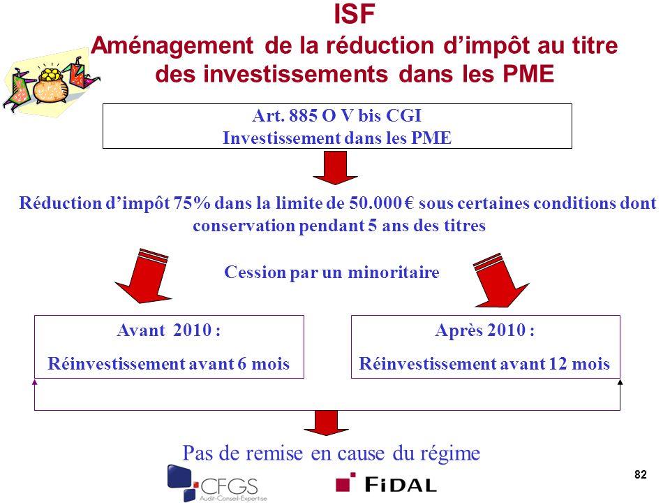ISF Aménagement de la réduction d'impôt au titre des investissements dans les PME