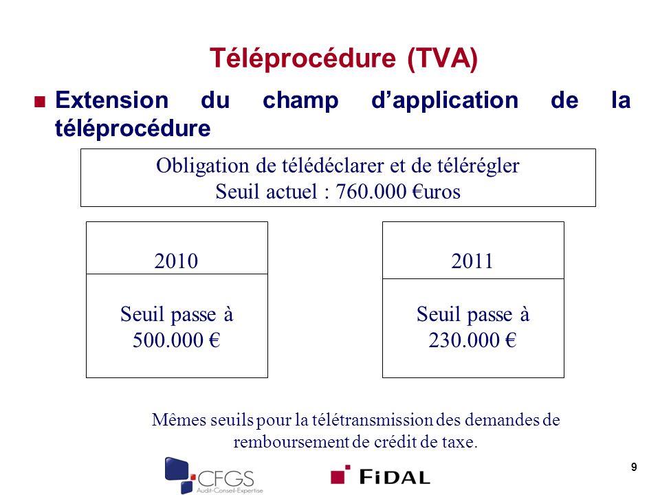 Téléprocédure (TVA) Extension du champ d'application de la téléprocédure. Obligation de télédéclarer et de télérégler.