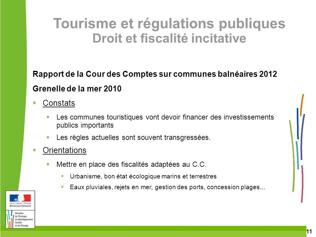 Tourisme et régulations publiques Droit et fiscalité incitative