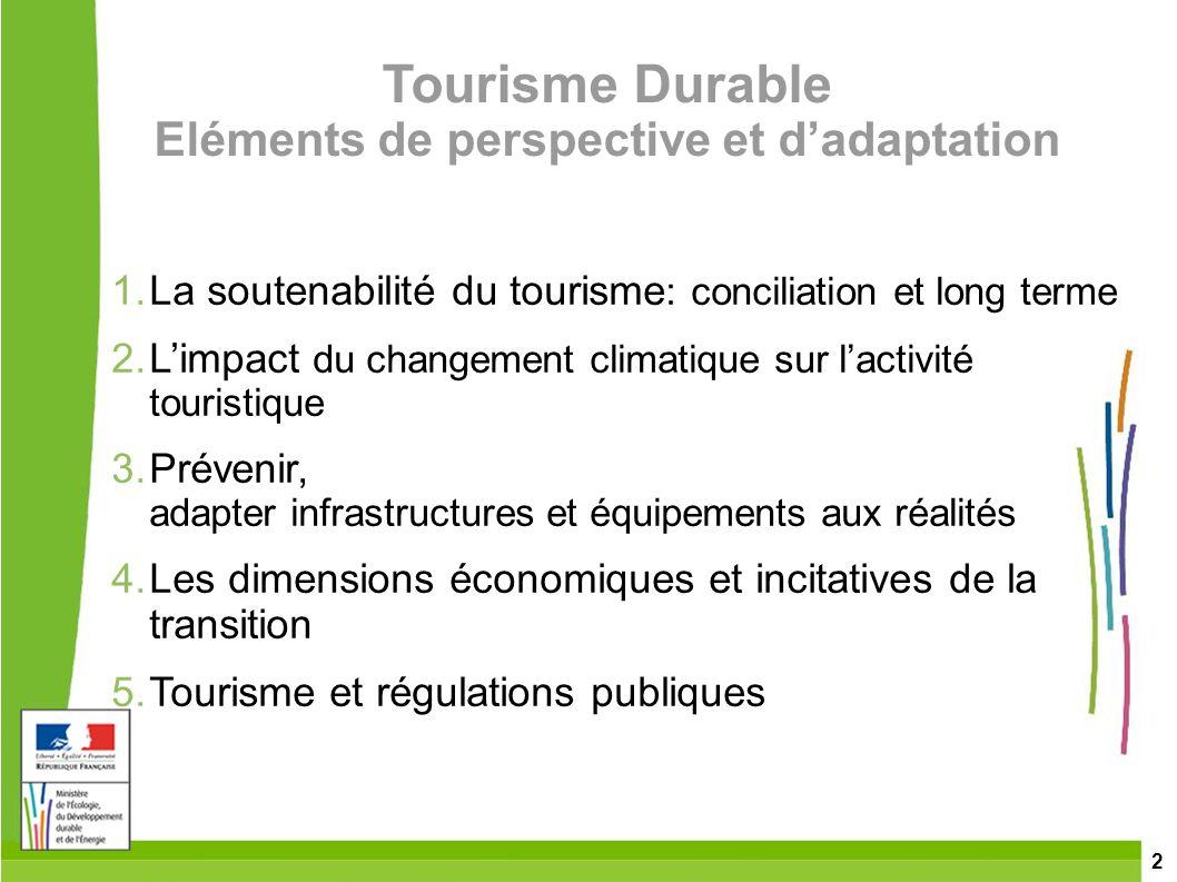 Tourisme Durable Eléments de perspective et d'adaptation