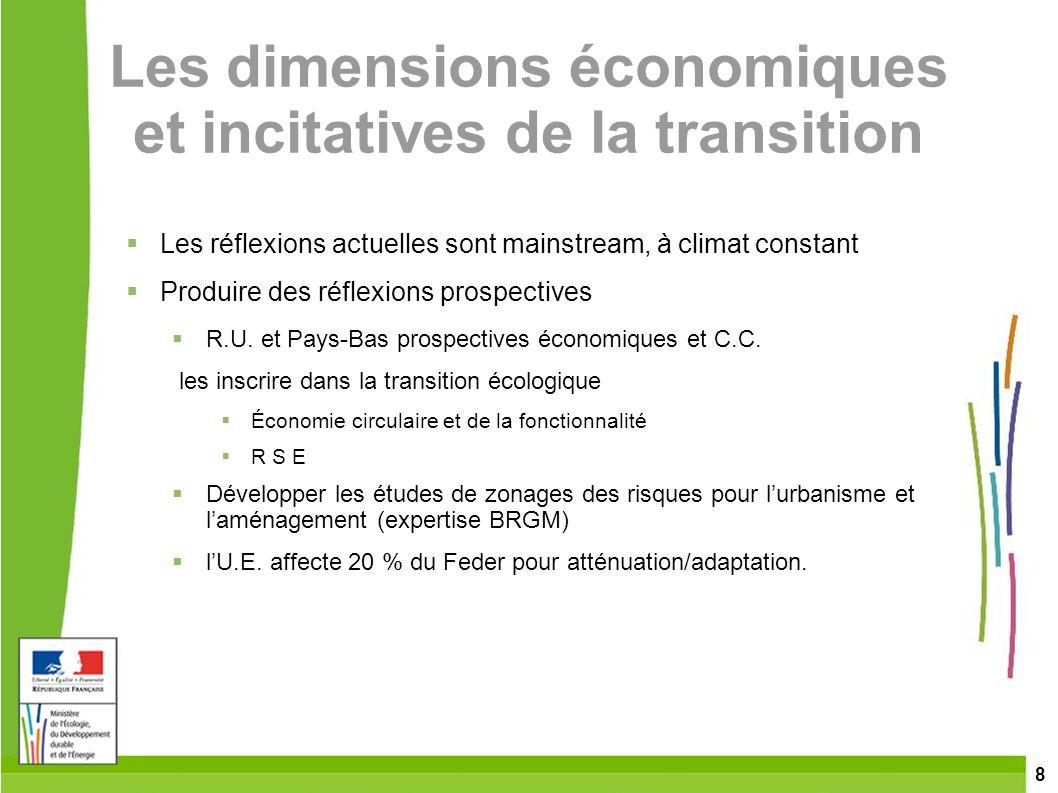 Les dimensions économiques et incitatives de la transition