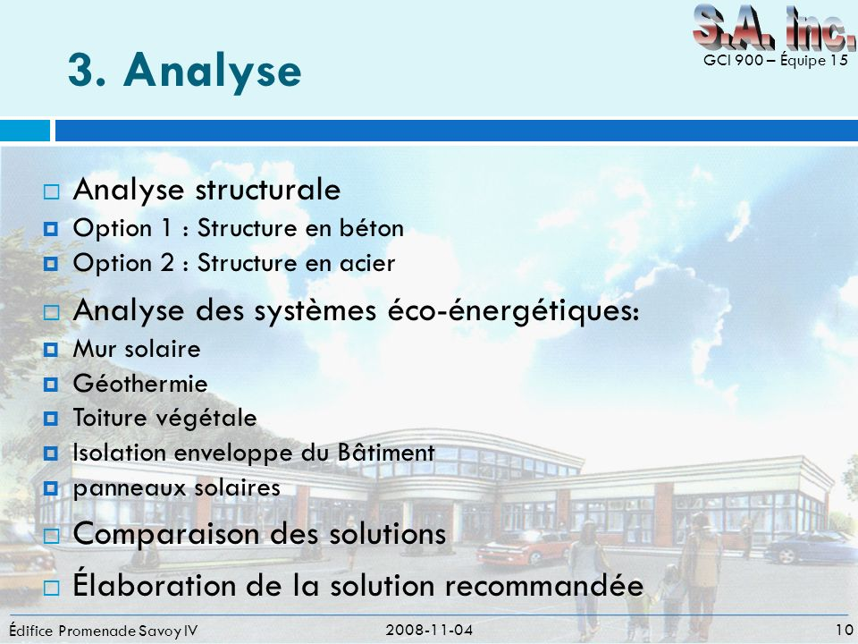3. Analyse S.A. inc. Analyse structurale