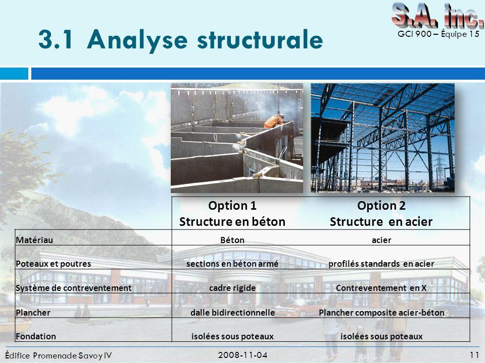 3.1 Analyse structurale S.A. inc. Option 1 Structure en béton Option 2