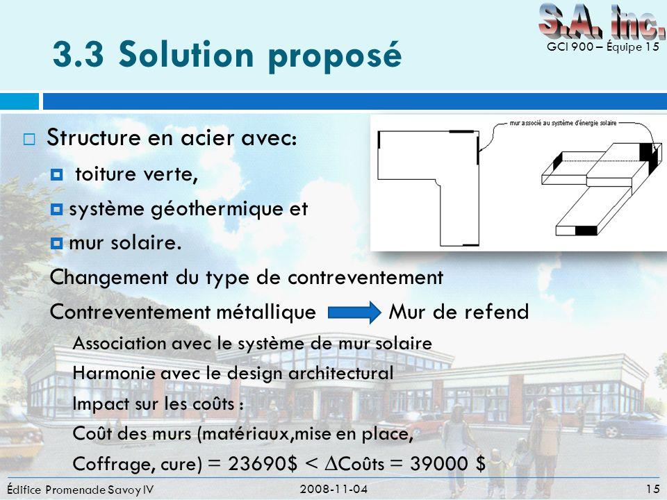 3.3 Solution proposé S.A. inc. Structure en acier avec: toiture verte,