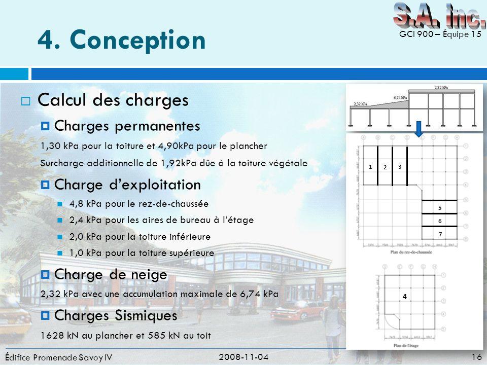 4. Conception S.A. inc. Calcul des charges Charges permanentes
