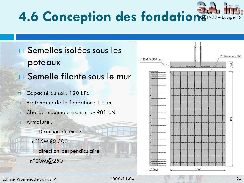 4.6 Conception des fondations