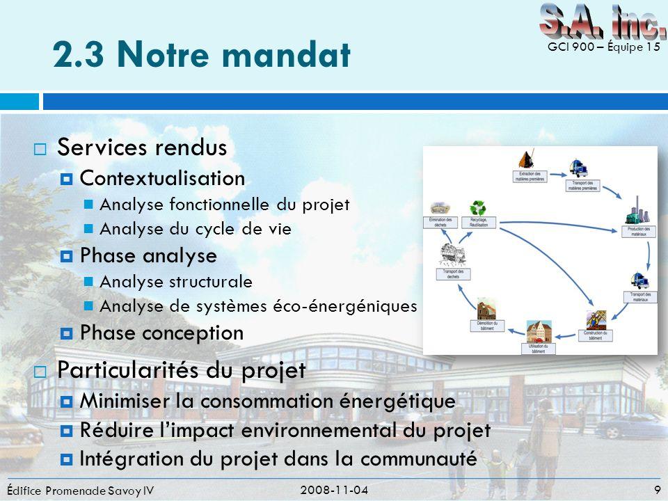 2.3 Notre mandat S.A. inc. Services rendus Particularités du projet