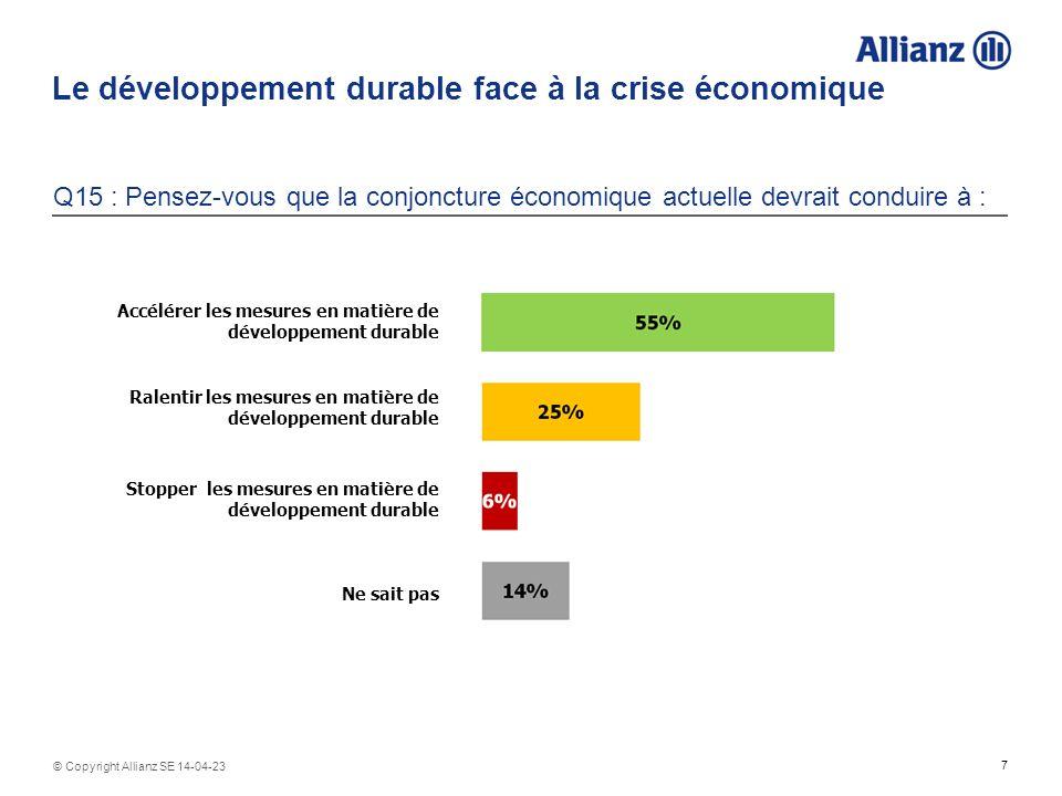 Le développement durable face à la crise économique