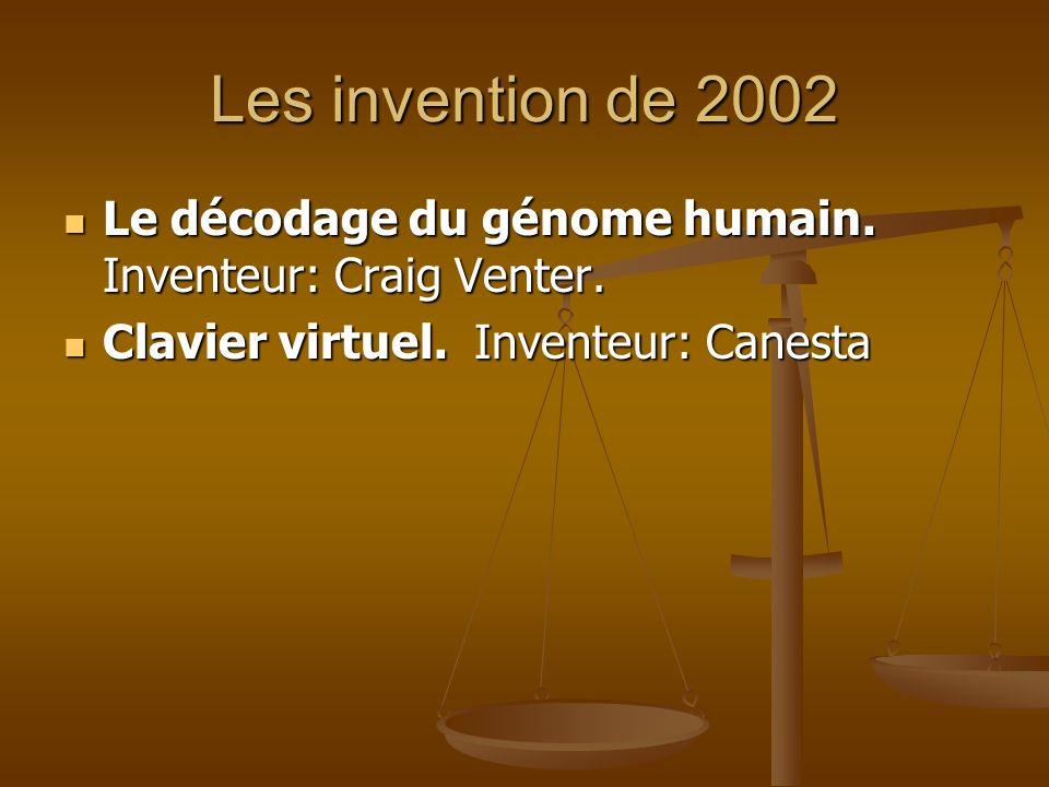 Les invention de 2002 Le décodage du génome humain.