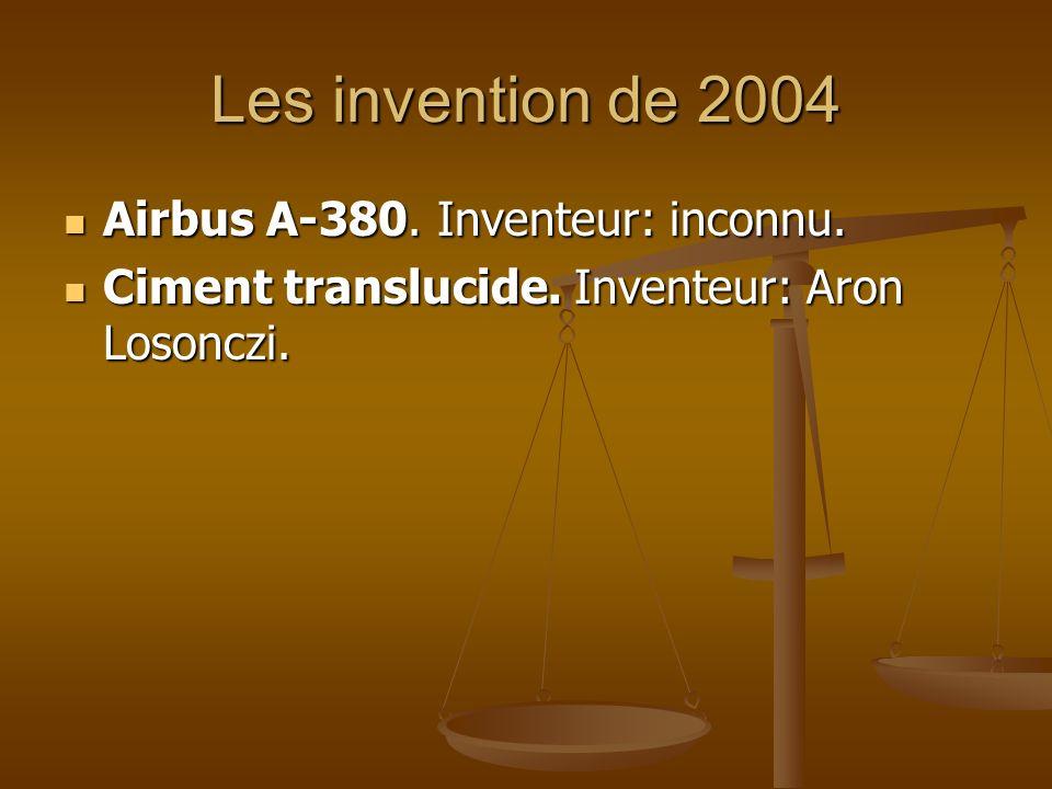Les invention de 2004 Airbus A-380. Inventeur: inconnu.