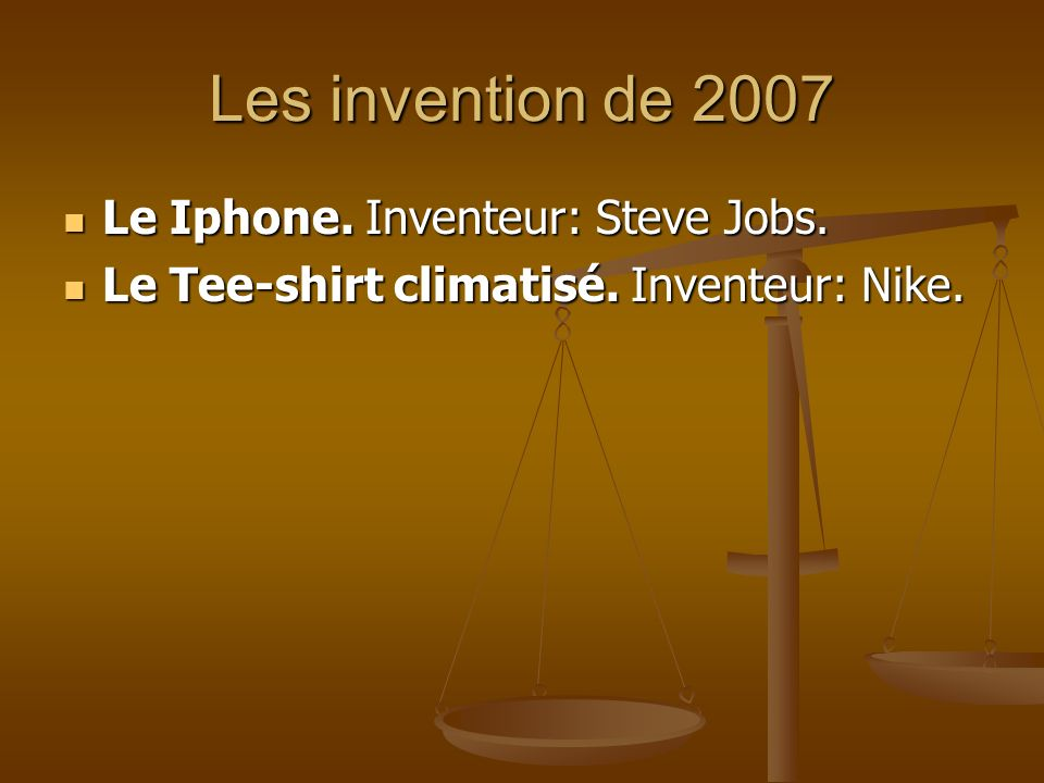 Les invention de 2007 Le Iphone. Inventeur: Steve Jobs.