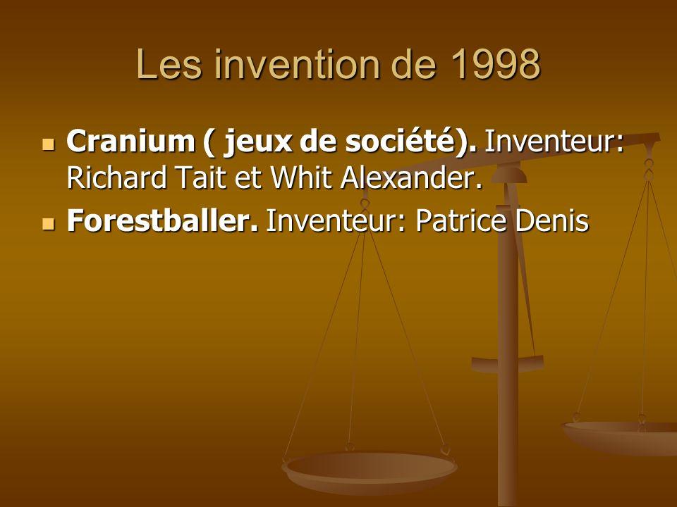 Les invention de 1998 Cranium ( jeux de société). Inventeur: Richard Tait et Whit Alexander.